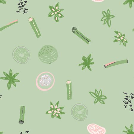 Mulled spices silhouette seamless pattern on green background. Festive textile, web, wrapping paper, background fill.  イラスト・ベクター素材