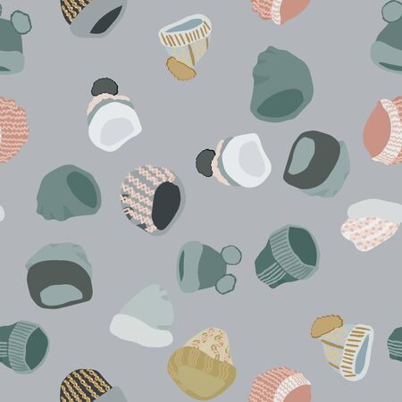 Winter headwear Knitted beanies and hats seamless pattern on grey background. Web, wrapping paper, textile, wallpaper design, background fill.