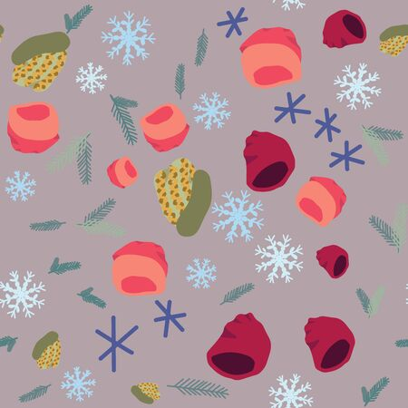 Illustration of knitted hats with snowflakes and pine tree twigs seamless pattern on purple background. Web, wrapping paper, textile, wallpaper design, background fill.