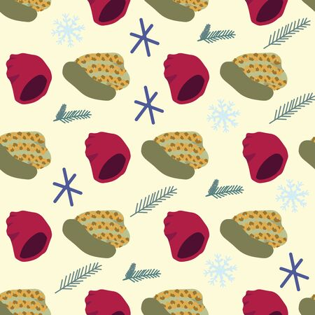 Illustration of knitted beanies with pine tree twigs seamless pattern on beige background. Web, wrapping paper, textile, wallpaper design, background fill.  イラスト・ベクター素材