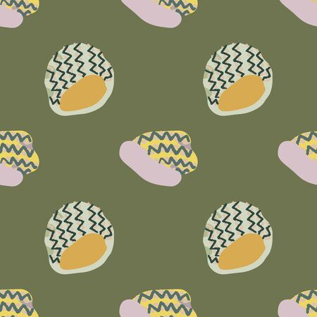 Colourful knitted beanies seamless pattern on khaki green background. Web, wrapping paper, textile, wallpaper design, background fill.