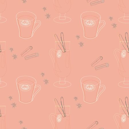 Glasses with mulled wine and spices silhouette seamless pattern on pink background. Festive textile, web, wrapping paper, background fill.  イラスト・ベクター素材