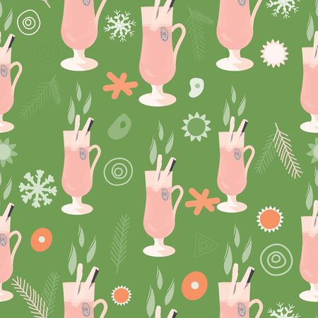Glasses with mulled wine and spices brown silhouette seamless pattern on pink background. Festive textile, web, wrapping paper, background fill.