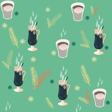 Glasses with mulled wine and pine tree twigs seamless pattern on green background. Festive textile, web, wrapping paper, background fill.  イラスト・ベクター素材