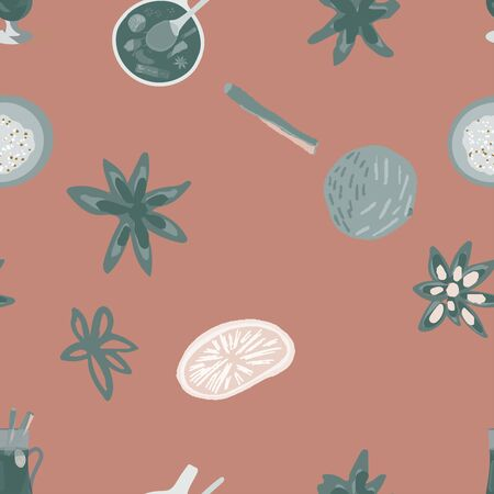 Silhouette of mulled wine spices seamless pattern on dusty pink background. Festive textile, web, wrapping paper, background fill.