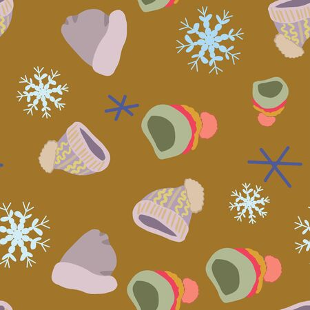 Illustration of knitted hats, beanies with snowflakes in seamless pattern on mustard background. Web, wrapping paper, textile, wallpaper design, background fill.
