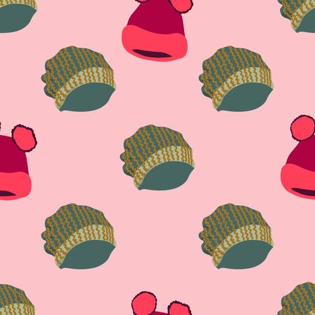 Winter headwear. Illustration of knitted hats with pom pom in seamless pattern on pink background. Web, wrapping paper, textile, wallpaper design, background fill.  イラスト・ベクター素材