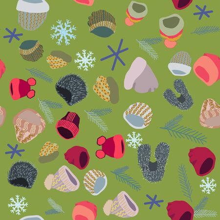 Illustration of winter headwear with snowflakes and pine tree twigs seamless pattern on green background. Web, wrapping paper, textile, wallpaper design, background fill.