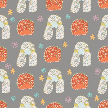 Faux fur with snowflakes seamless pattern on grey background. Web, wrapping paper, textile, wallpaper design, background fill.