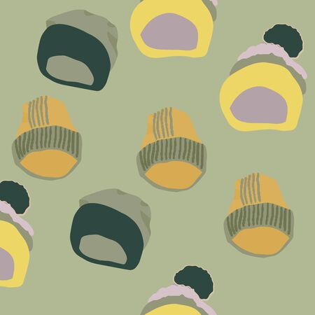 Trendy winter headwear knitted hats seamless pattern on green khaki background. Web, wrapping paper, textile, wallpaper design, background fill.  イラスト・ベクター素材
