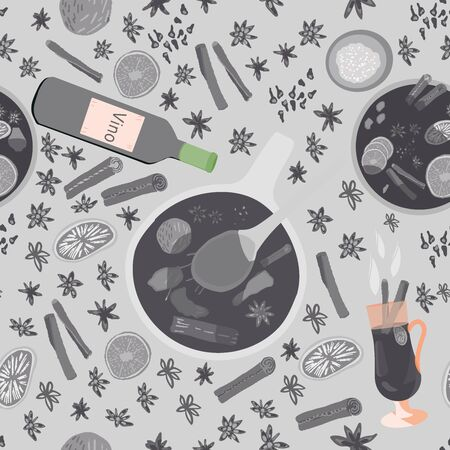 Grey silhouette of pot mulled wine, spices and wine bottle seamless pattern. Festive textile, web, wrapping paper, background fill.