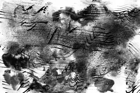 Black horizontal abstract painting mixed grunge on white background with paint traces, blotches, smudges, stains. Contemporary art style. Backgrounds, wallpapers, covers, packaging, collage.
