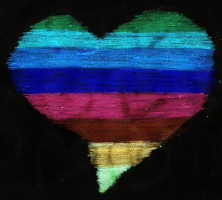 LGBT heart illustration. Rainbow heart abstract painting black background with colorful paint traces, blotches, smudges, stains. Creative illustration for backgrounds, covers, packaging, collage.