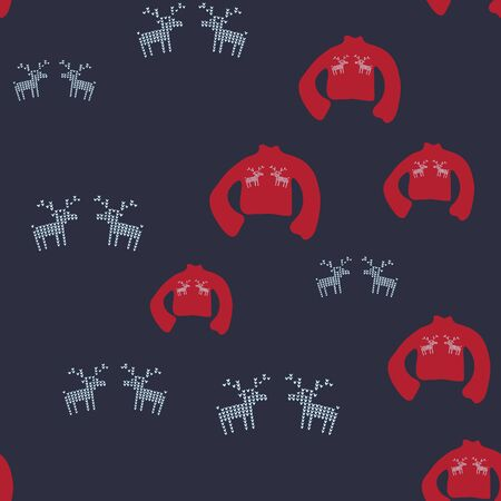 Red ugly sweater with blue reindeer seamless pattern. Festive knitted jumper endless design. Holiday decor, winter knitted woolen clothes. Colorful vector illustration in flat cartoon style.