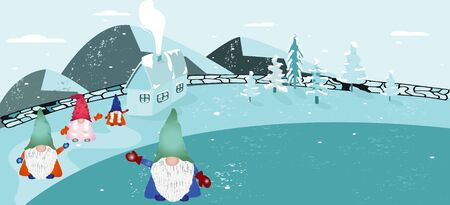 Scandinavian folklore christmas gnomes Nisse or Tomte waving welcome into house. Winter background with a peaceful village mountain landscape. Vector illustration.