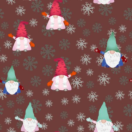 Christmas scandinavian gnomes seamless pattern on brown. Hand drawn dwarf or elf fairytale characters with snowflakes. Wallpaper, textile, wrapping paper design. Vector illustration.  イラスト・ベクター素材