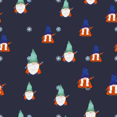 Colorful scandinavian gnomes seamless design on blue. Hand drawn dwarf or elf fairytale characters. Wallpaper, textile, wrapping paper design. Vector illustration. Çizim