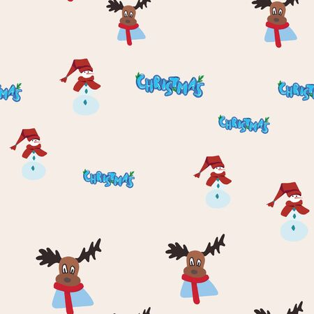 Christmas lettering, snowman and reindeer seamless pattern. Festive endless design. Holiday decor wrapping paper, background. Colorful vector illustration in flat cartoon style.  イラスト・ベクター素材