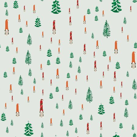 Seamless pattern with Christmas gnomes and Christmas trees. Beautiful festive design with elves decorations. For wrapping paper, textiles, fabric. Flat cartoon style vector illustration. Иллюстрация