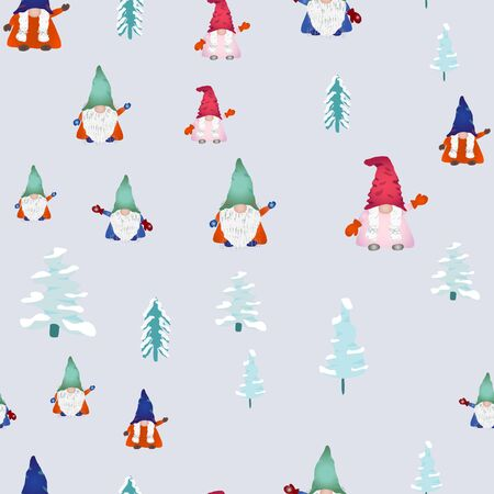 Christmas scandinavian gnomes seamless pattern on light blue. Winter landscape, pine trees and dwarf or elf fairytale characters. Wallpaper, textile, wrapping paper design. Vector illustration. Иллюстрация