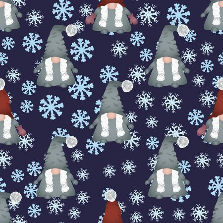 Christmas scandinavian gnomes seamless pattern on blue. Winter scene with snowflakes and dwarf or elf fairytale characters. Wallpaper, textile, wrapping paper design. Vector illustration.