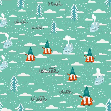 Scandinavian folklore christmas gnomes, pine trees and winter house with snow seamless design. Vector illustration.