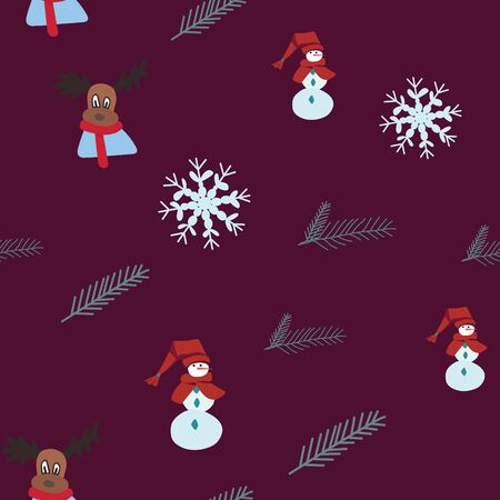 Snowman, winter reindeer, snowflakes seamless pattern. Festive endless design. Holiday decor wrapping paper, background. Colorful vector illustration in flat cartoon style.