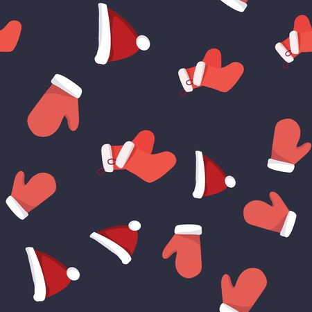Collection of red santa gloves, Christmas hat and stockings seamless pattern. Festive endless design. Holiday decor wrapping paper, background. Colorful vector illustration in flat cartoon style. Иллюстрация