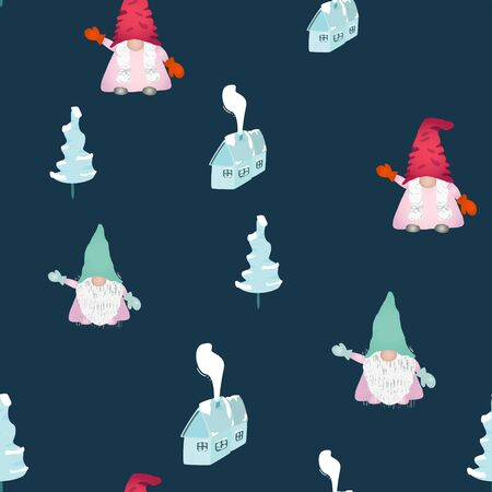 Scandinavian christmas gnomes seamless pattern on blue. Hand drawn winter house, christmas pine tree. Wallpaper, textile, wrapping paper design. Vector illustration.