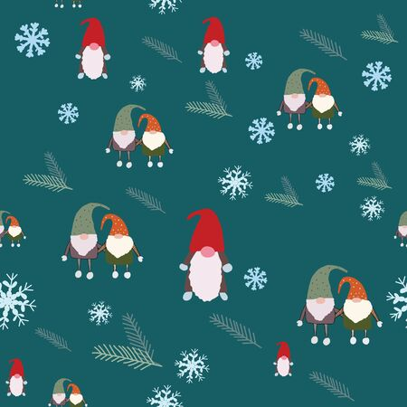 Seamless pattern with snowflakes, scandinavian gnomes and pine tree spruce. Beautiful festive design with elves decorations. For wrapping paper, textiles, fabric. Vector illustration. Иллюстрация