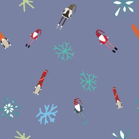 Seamless design with scandinavian gnomes and winter snowflakes. Beautiful festive design with elves decorations. For wrapping paper, textiles, fabric. Flat cartoon style vector illustration.
