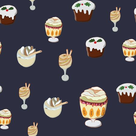 Seamless pattern with Christmas pudding, trifle pudding and eggnog. Cute endless background New year and Christmas. Vector illustration.