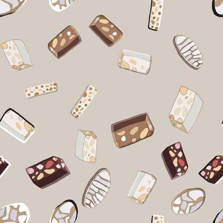 Seamless pattern with Christmas traditional italian Ricciarelli cookies and nougat sweets. Cute endless background New year and Christmas. Vector illustration.
