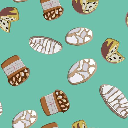 Seamless pattern with Christmas Panettone and traditional italian Ricciarelli cookies. Cute endless background New year and Christmas.