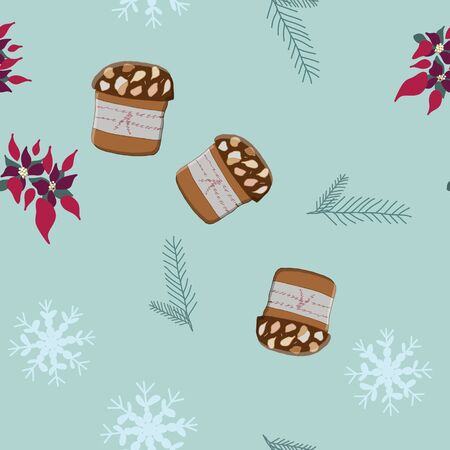 Seamless pattern with Christmas panettone pudding, poinsettia and snowflakes. Cute endless background New year and Christmas.