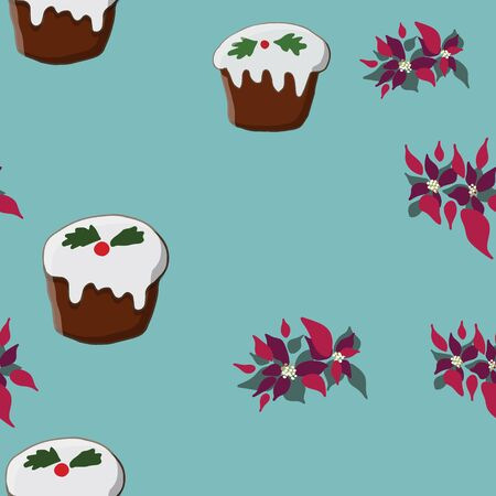 Seamless pattern with Christmas pudding and poinsettia. Cute endless background New year and Christmas. Vector illustration.