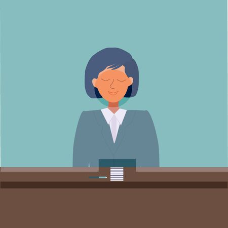 Female cashier in Bank for Child finance education concept. Flat cartoon style. Vector illustration