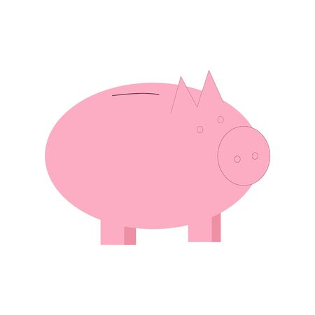 Piggy money box for finance education concept. Flat cartoon style isolated on white background. Vector illustration