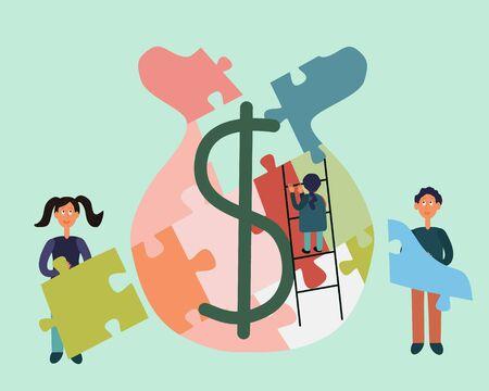 Little kids bulding money bag puzzle. Child finance education concept. Flat cartoon style. Vector illustration