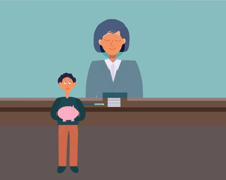 Little child with piggy money box savings with cashier in Bank. Child finance education concept. Flat cartoon style. Vector illustration