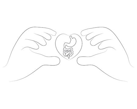 Hands holding guts in outline style illustration for probiotics health benefits. Vector illustration isolated on white background.