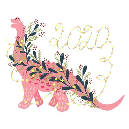 Cute pink girl Christmas Dinosaur with festive lights and sign 2020. Merry Christmas and Happy New Year composition isolated on white. Design print for cards, stickers, apparel, home decor. Vector.  イラスト・ベクター素材