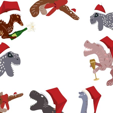 Christmas Dinosaurs with santa hats and Champagne border on white. Design print for cards, stickers, apparel, home decor. Vector illustration.