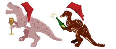 Cute Christmas Dinosaur with Champagne and red Santa hats isolated on white background. Merry Christmas and Happy New Year composition. Design print for cards, stickers, apparel, home decor. Vector.