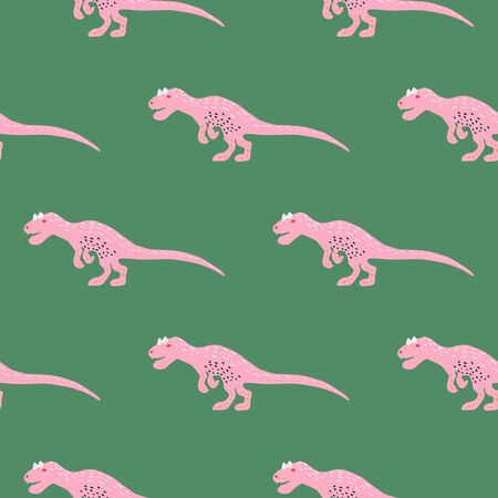 Cute rose dinosaur girl seamless pattern on green. Adorable wild animal repeat ornaments. Colored vector illustration in flat cartoon style.