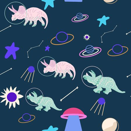 Space dino seamless pattern on blue. Cute wild galaxy monster endless design. Joyous reptile astronaut and planets decor for textile, paper, web, wallpaper. Vector illustration in flat cartoon style.