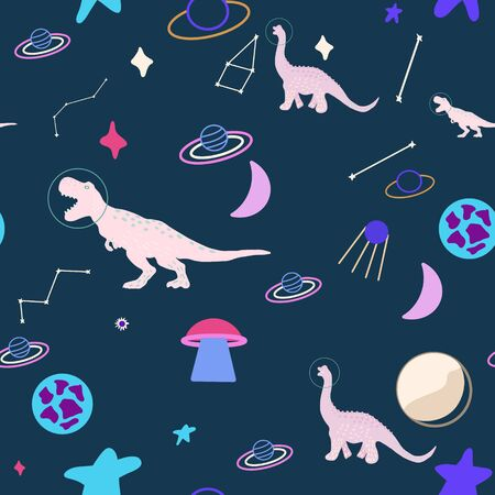 Space dino girl seamless pattern on blue. Wild galaxy monster endless design. Joyous reptile astronaut and planets decor for textile, paper, web, wallpaper. Vector illustration in flat cartoon style. Ilustrace