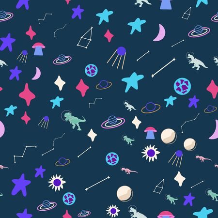 Dinosaur astronauts seamless pattern on blue. Wild galaxy monster endless design. Joyous reptile and planets decor for textile, paper, web, wallpaper. Vector illustration in flat cartoon style.