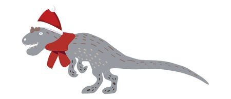 Christmas Dinosaur with red Santa hat and red scarf isolated on white backgound. Merry Christmas and Happy New Year composition design print for cards, stickers, apparel, home decor. Vector.