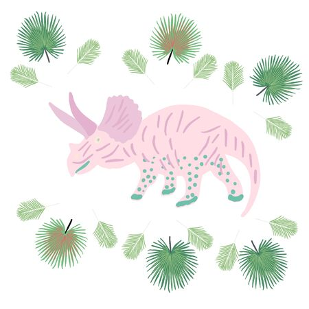 Pink Dinosaur with tropical palm leaves on white. Decor design for kids or children event, poster, banner, party invitation. Vector illustration.